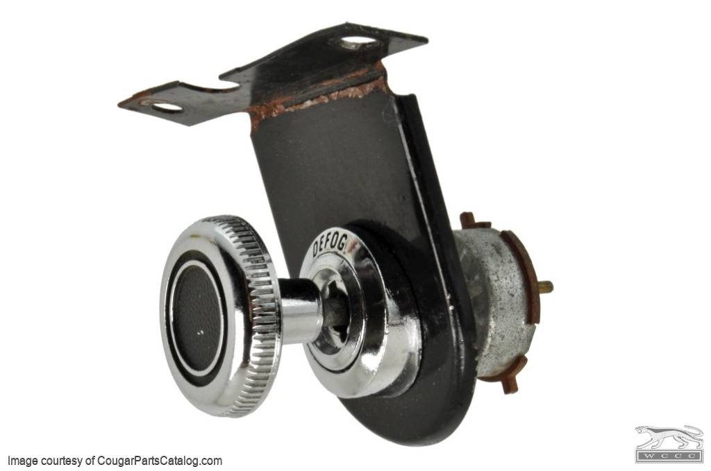 Defog Switch and Bracket - Chrome Knob - Used ~ 1968 Mercury Cougar / 1968 Ford Mustang - 16745