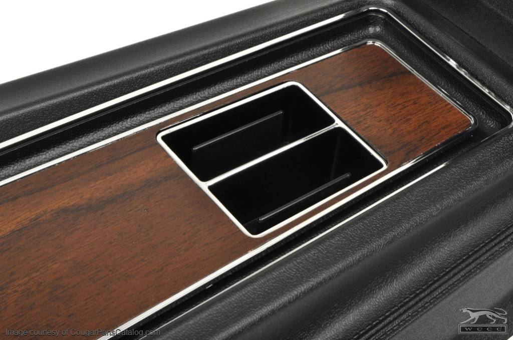 Center Console - Manual Transmission - w/ Woodgrain Insert - Flat Lid - Repro ~ 1969 Mercury Cougar / 1969 Ford Mustang - 17788