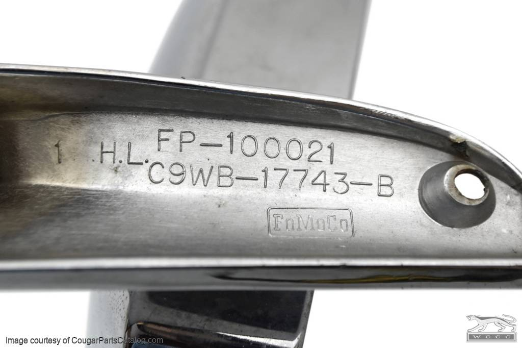 Side View Mirror - Driver Side - Chrome - Remote - Standard - Grade B - Used ~ 1969 Mercury Cougar - 19476