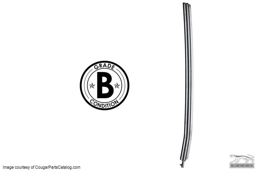 Moulding / Trim - Vertical Door Glass To Quarter Glass - Driver Side - Grade B - Used ~ 1969 Mercury Cougar / 1969 Ford Mustang - 19500