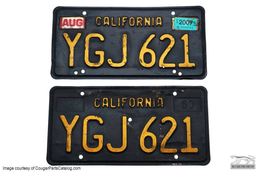 License Plates - California Original Black And Gold - Used ~ 1967 - 1969 Mercury Cougar / 1967 - 1969 Ford Mustang - 19824