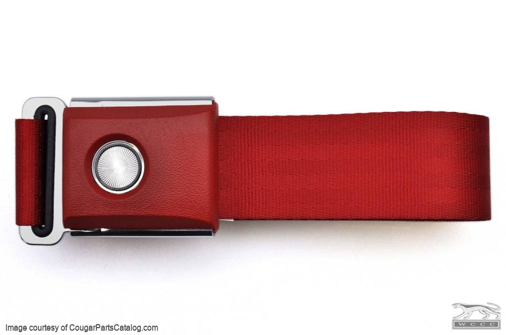 Seat Belt - DARK RED - OEM Style Push Button - Repro ~ 1967 - 1973 Mercury Cougar / 1967 - 1973 Ford Mustang - 13706