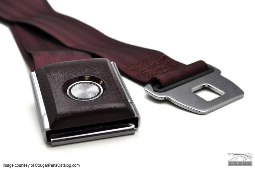 Seat Belt - MAROON - OEM Style Push Button - Repro ~ 1967 - 1973 Mercury Cougar - 1967 - 1973 Ford Mustang - 13709