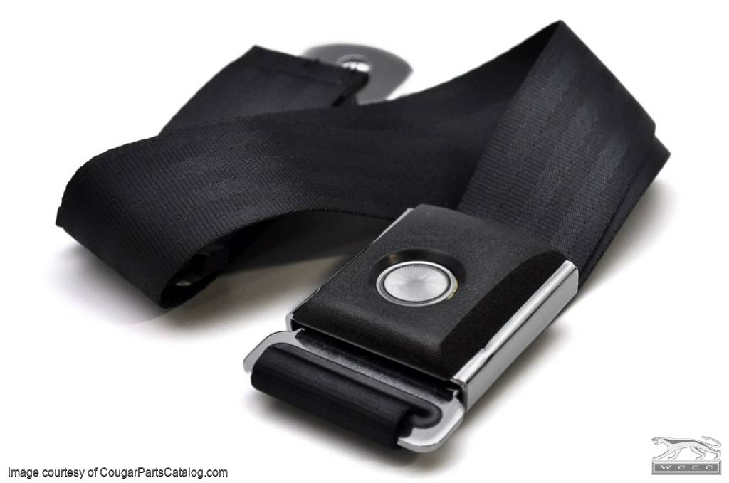 Seat Belt - BLACK - OEM Style Push Button - Repro ~ 1967 - 1973 Mercury Cougar / 1967 - 1973 Ford Mustang - 13711