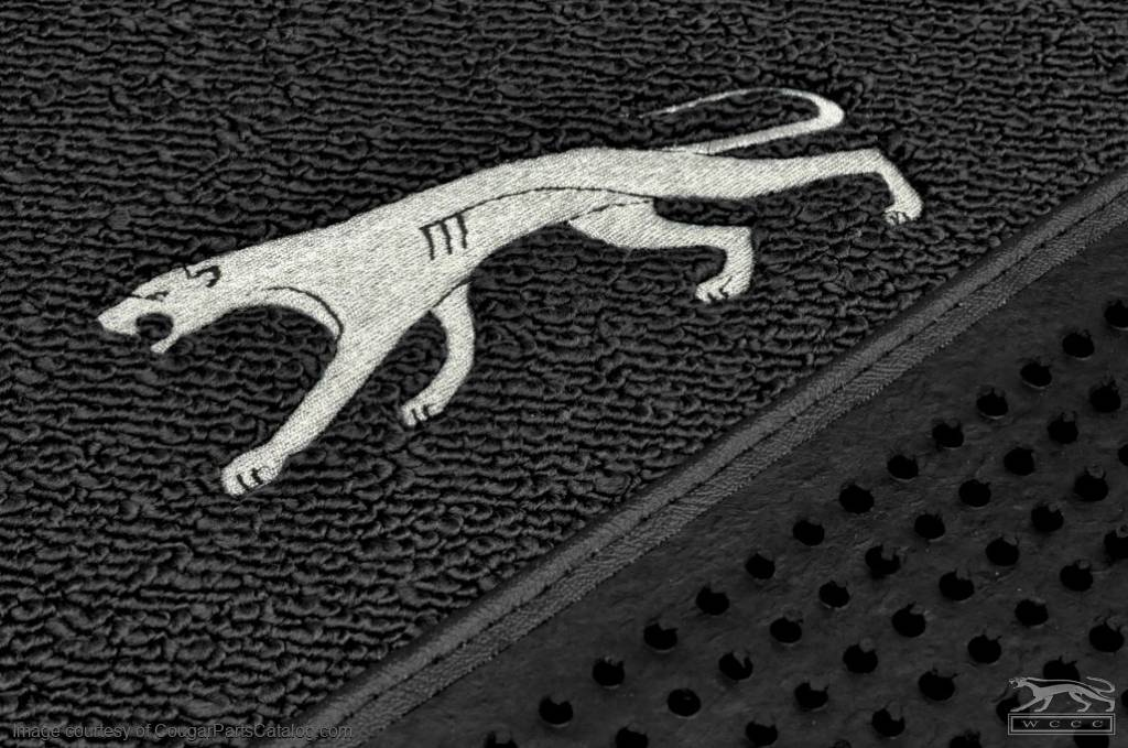 Floor Mats - BLACK Carpet - Walking Cat Logo - NEW ~ 1967 - 1973 Mercury Cougar - 14936
