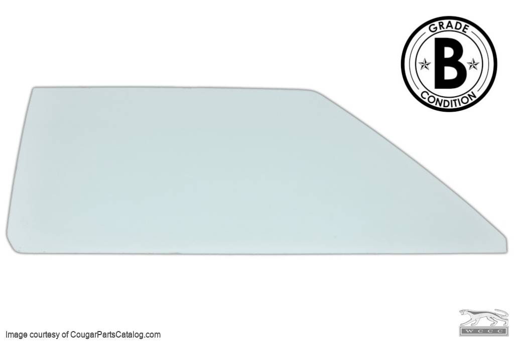Door Glass - Glue In - CLEAR - Passenger Side - Grade B - Used ~ 1970 Mercury Cougar / 1970 Ford Mustang - 20444