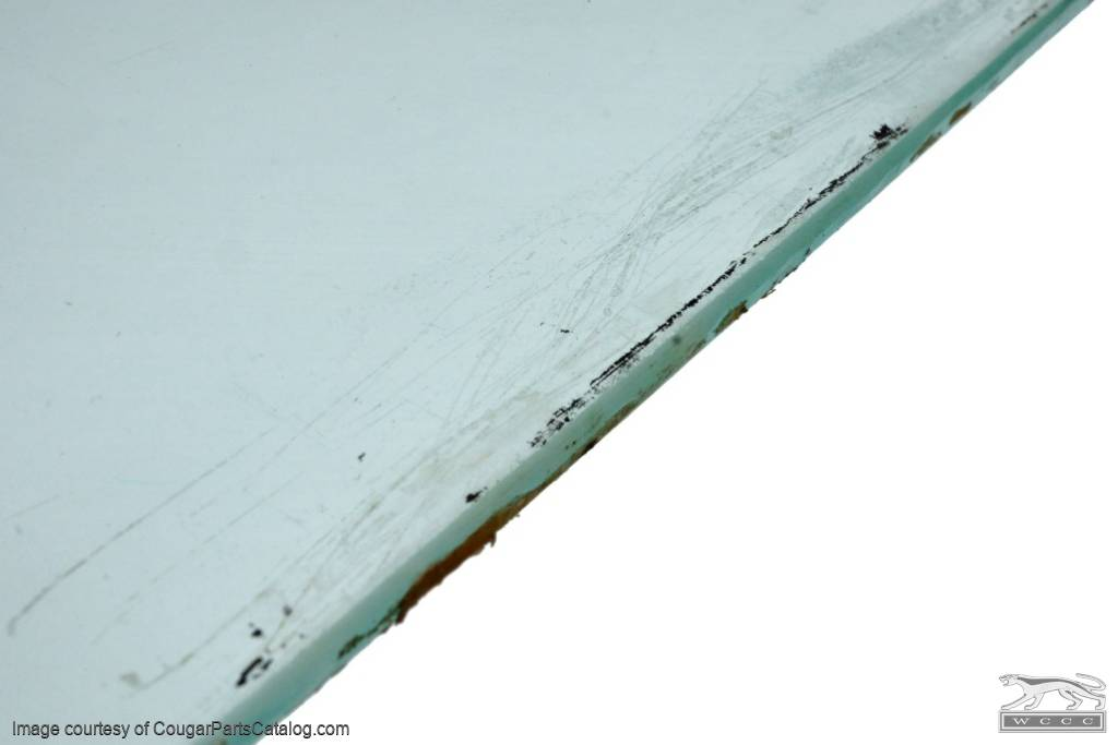 Door Glass - Glue In - CLEAR - Driver Side - Grade B - Used ~ 1970 Mercury Cougar / 1970 Ford Mustang - 20445