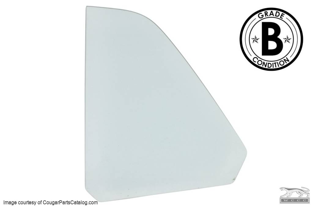 Quarter Window Glass - CLEAR - Driver Side - COUPE - Grade B - Used ~ 1970 Mercury Cougar - 20446