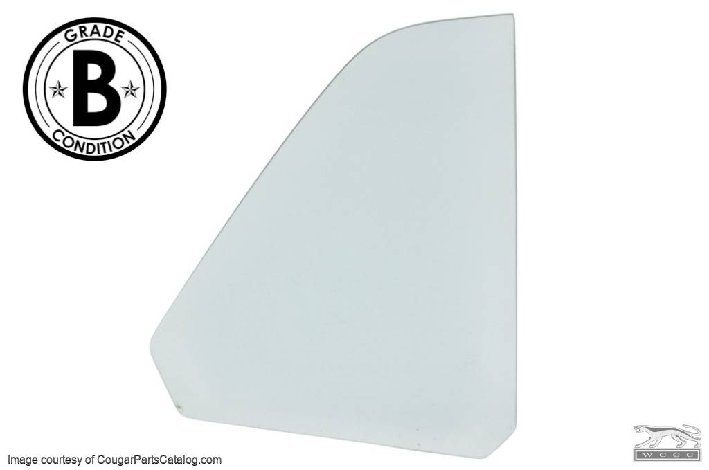 Quarter Window Glass - CLEAR - Passenger Side - COUPE - Grade B - Used ~ 1970 Mercury Cougar - 20449