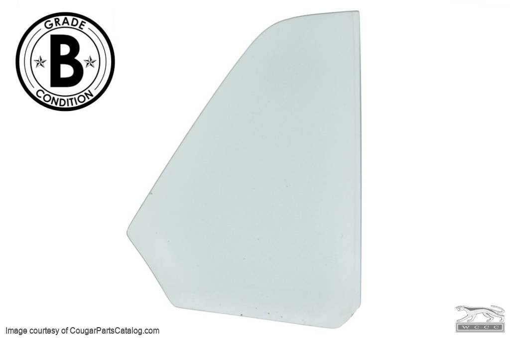 Quarter Window Glass - CLEAR - Passenger Side - Convertible - Grade B - Used ~ 1970 Mercury Cougar / 1970 Ford Mustang - 20460