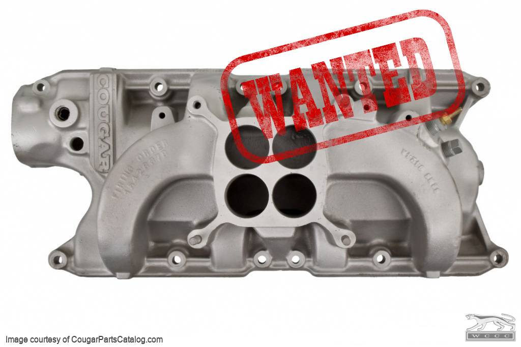 Intake Manifold - 289-4V / 302-4V - Group II Shelby American COUGAR Lettered - Used ~ 1967 - 1968 Mercury Cougar - 20531