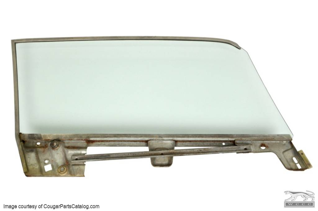 Door Glass - CLEAR - Driver Side - Grade A - Used ~ 1967 - 1968 Mercury Cougar / Ford Mustang Coupe - 20611