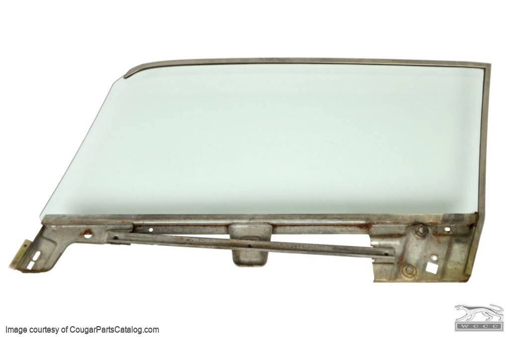 Door Glass - CLEAR - Passenger Side - Grade A - Used ~ 1967 - 1968 Mercury Cougar / Ford Mustang Coupe - 20612