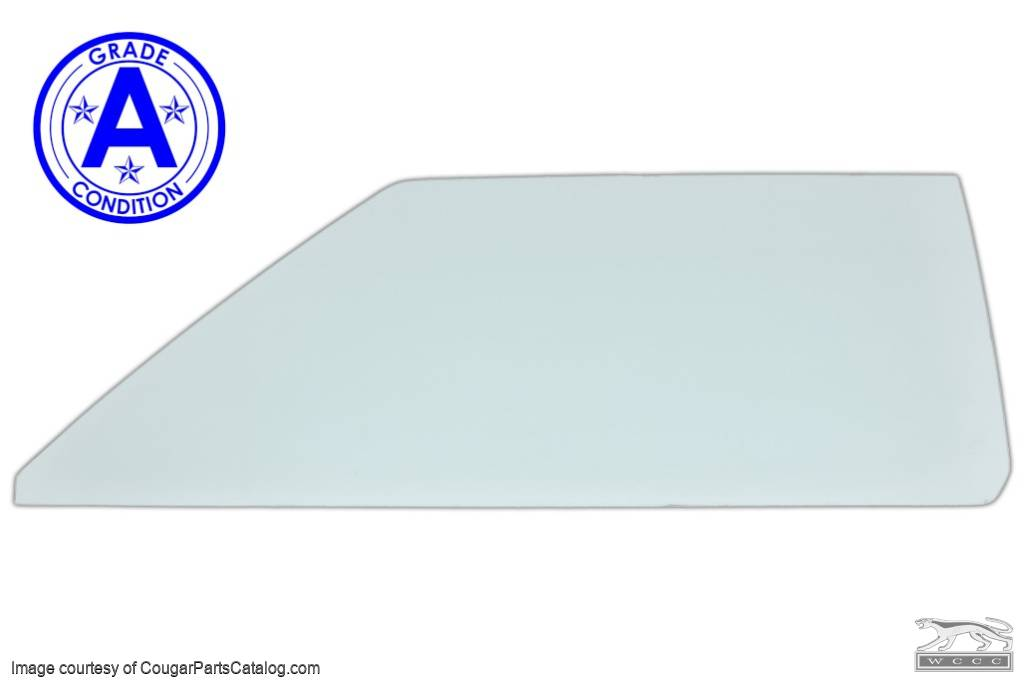 Door Glass - Glue In - CLEAR - Driver Side - Grade A - Used ~ 1970 Mercury Cougar / 1970 Ford Mustang - 20622
