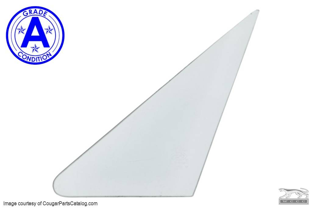 Door Vent Glass - CLEAR - Driver Side - Grade A - Used ~ 1967 - 1968 Mercury Cougar / 1965 - 1968 Ford Mustang - 20637