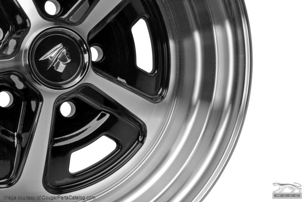 Legendary Magnum 500 - Aluminum Wheel - 15 X 7 - Black Gloss - Repro ~ 1967 - 1973 Mercury Cougar - 1967 - 1973 Ford Mustang  - 20678