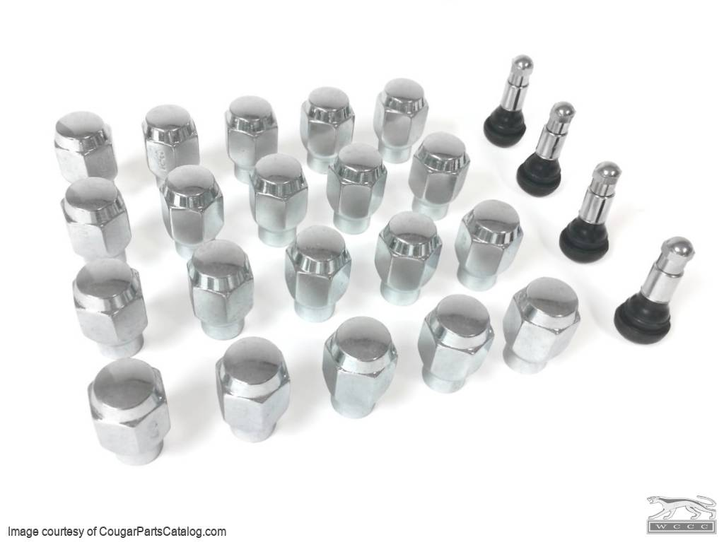 "Wheel Installation Kit - 13/16"" Lug Nuts and Valve Stems - Legendary Series - Repro ~ 1967 - 1973 Mercury Cougar / 1967 - 1973 Ford Mustang - 20685"