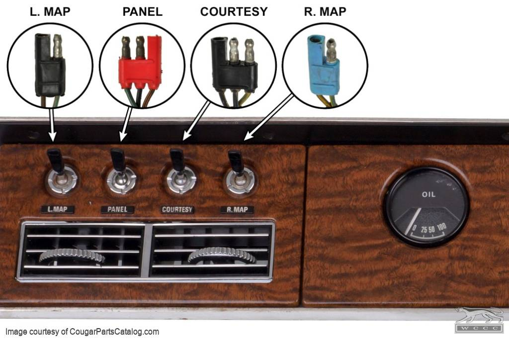 Dash Toggle Switch - Map Light - Passenger Side - XR7 - Used ~ 1968 Mercury Cougar - 27045