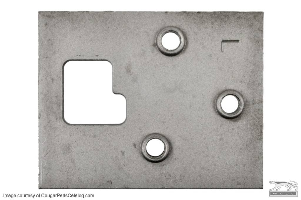 Plate - Door Hinge to Pillar - Driver Side Lower - Used ~ 1968 Mercury Cougar / 1968 Ford Mustang - 22220