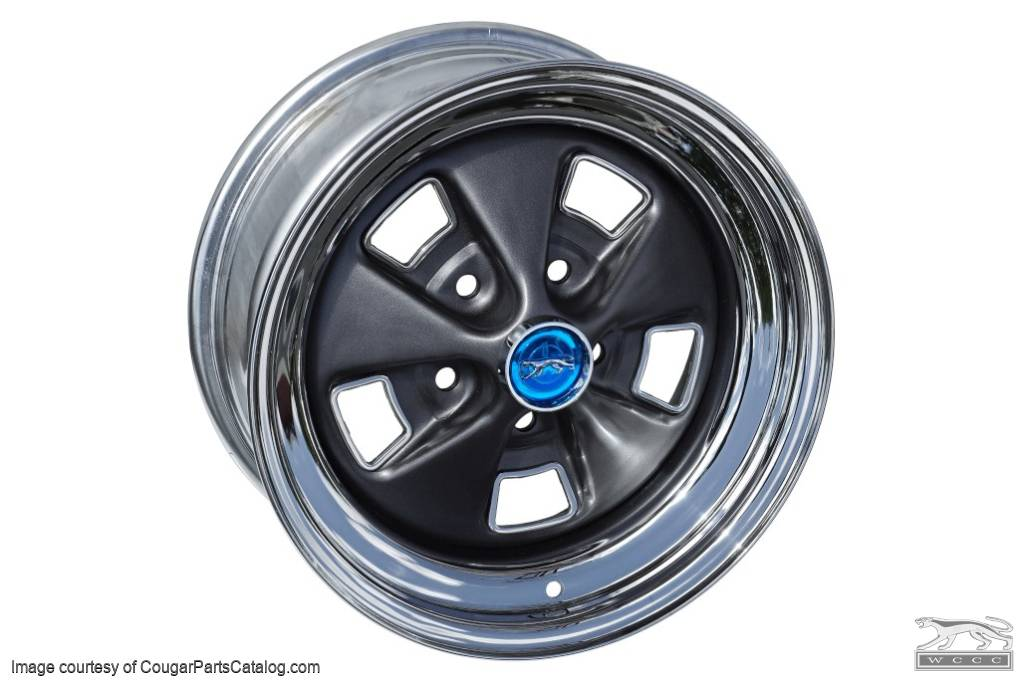 Styled Steel Wheel - 15 X 7 - Chrome Outer - Repro ~ 1969 - 1970 Mercury Cougar - 23550