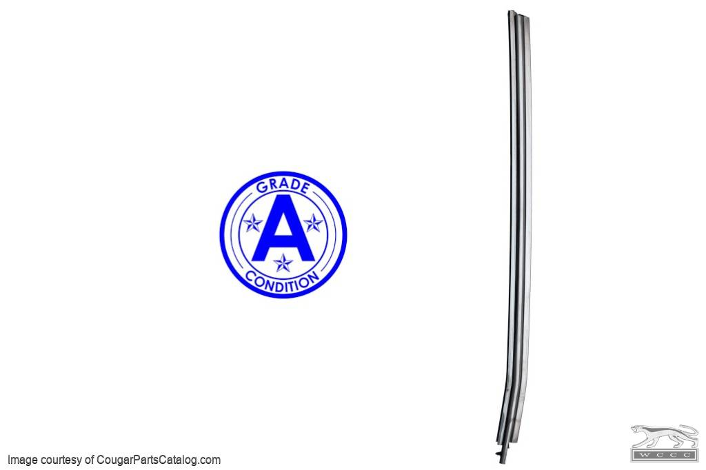 Seal / Trim - Vertical Door Glass To Quarter Glass - Driver Side - Grade A - Used ~ 1969 Mercury Cougar / 1969 Ford Mustang - 24858