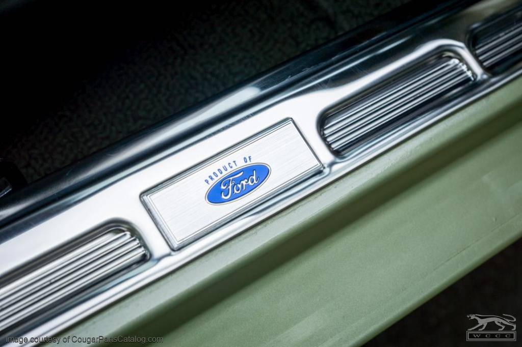 Emblem - Door Sill Scuff Plate - Blue Oval Product of Ford Logo - EACH - Repro ~ 1967 Mercury Cougar / 1967 Ford Mustang - 26104