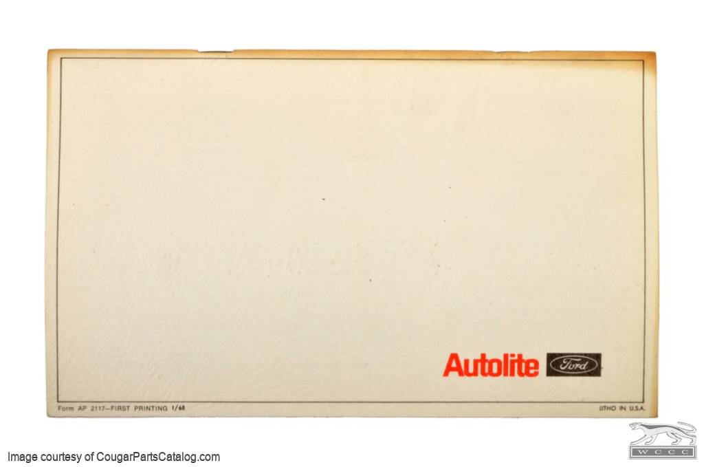 Booklet - Warranty Facts - 1968 Ford / Mercury - NOS ~ 1968 Mercury Cougar / 1968 Ford Mustang - 26215
