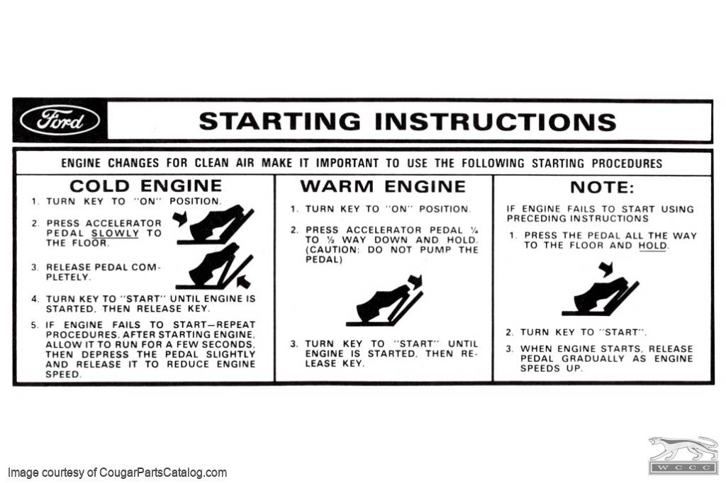 Decal - Starting Instructions - Sun Visor - Repro ~ 1967 - 1968 Mercury Cougar / 1967 - 1968 Ford Mustang - 26256