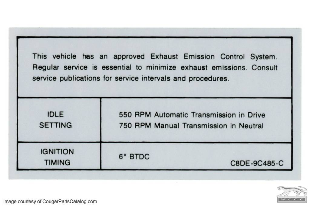 289 - 302 2V AT - MT Emission Decal - Repro ~ 1968 Mercury Cougar - 1968 Ford Mustang - 26257