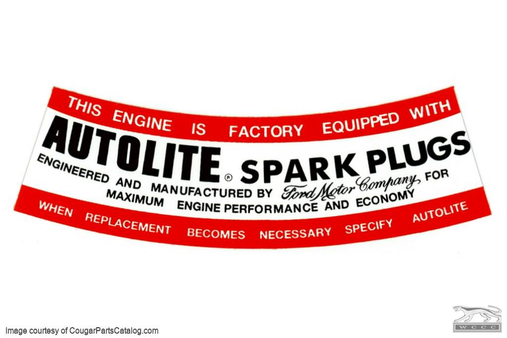 Air Cleaner Decal - Autolite Spark Plug - Repro ~ 1967 Mercury Cougar - 1967 Ford Mustang - 26285