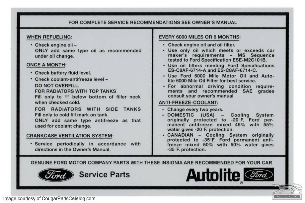 Decal - Service Specifications - Repro ~ 1970 Mercury Cougar - 26311