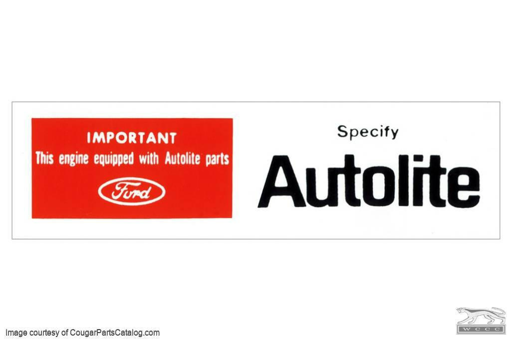 Decal - Air Cleaner - Autolite Parts - Repro ~ 1968 - 1972 Mercury Cougar / 1968 - 1972 Ford Mustang - 26336