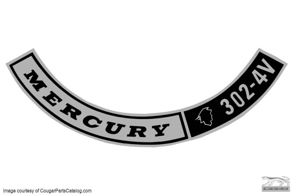 Decal air cleaner 302 4v repro fits 1968 mercury cougar