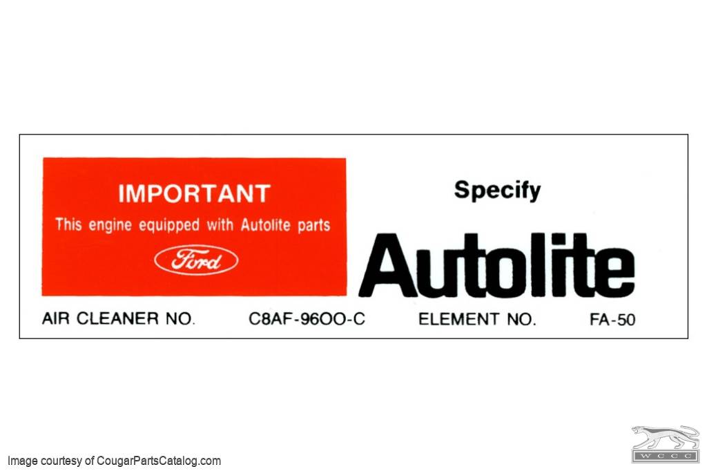 Air Cleaner Decal - Autolite Parts - 302 - Repro ~ 1968 Mercury Cougar - 1968 Ford Mustang - 26397
