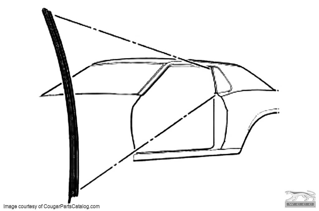 Weatherstrip - Vertical - Door Glass - Driver Side - Repro ~ 1969 Mercury Cougar / 1969 Ford Mustang - 26583