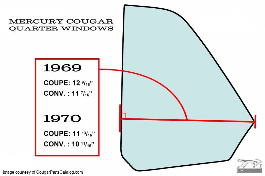 Quarter Window Glass - CLEAR - Driver Side - Coupe - Repro ~ 1970 Mercury Cougar - 26974