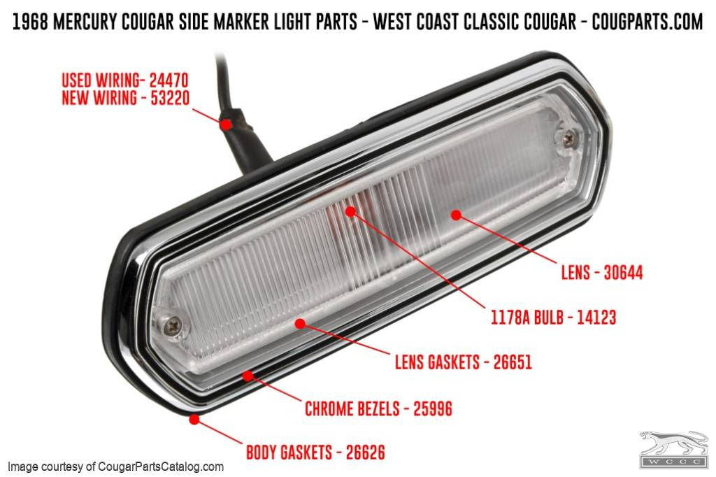Side Marker Light - Bezels - PAIR - Repro ~ 1968 Mercury Cougar - Cyclone - 25996
