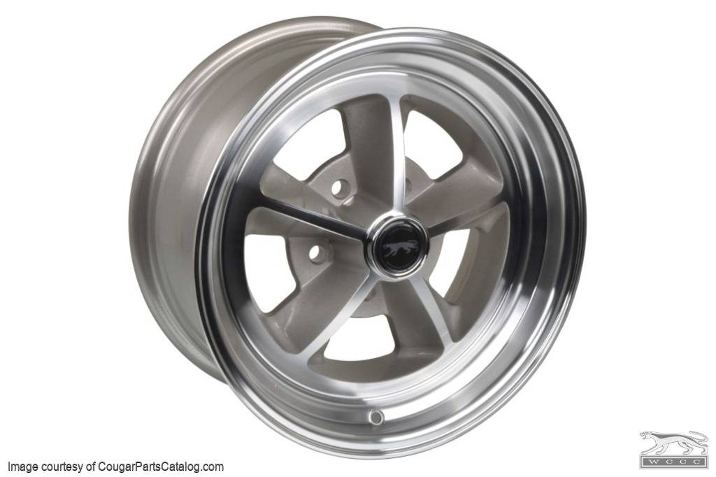 Legendary 1969 / 1970 Shelby - Aluminum Wheel - 15 X 7 - Natural - Repro ~ 1967 - 1973 Mercury Cougar / 1967 - 1973 Ford Mustang - 30700