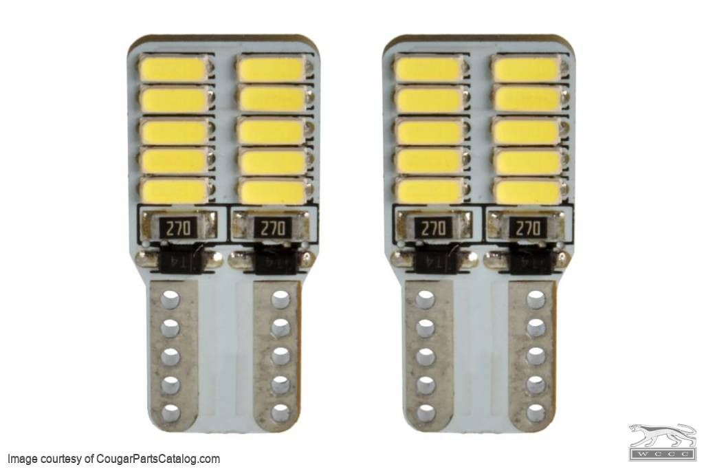 194 LED - Front Side Marker Indicator Light - WHITE - PAIR - Repro ~ 1969 Mercury Cougar - 30798