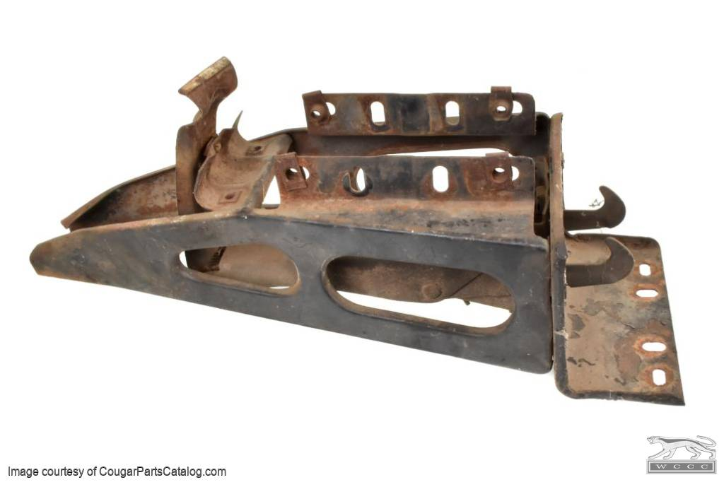 Hood Latch / Support Assembly - Grille Center - Grade B - Used ~ 1967 - 1968 Mercury Cougar - 30814