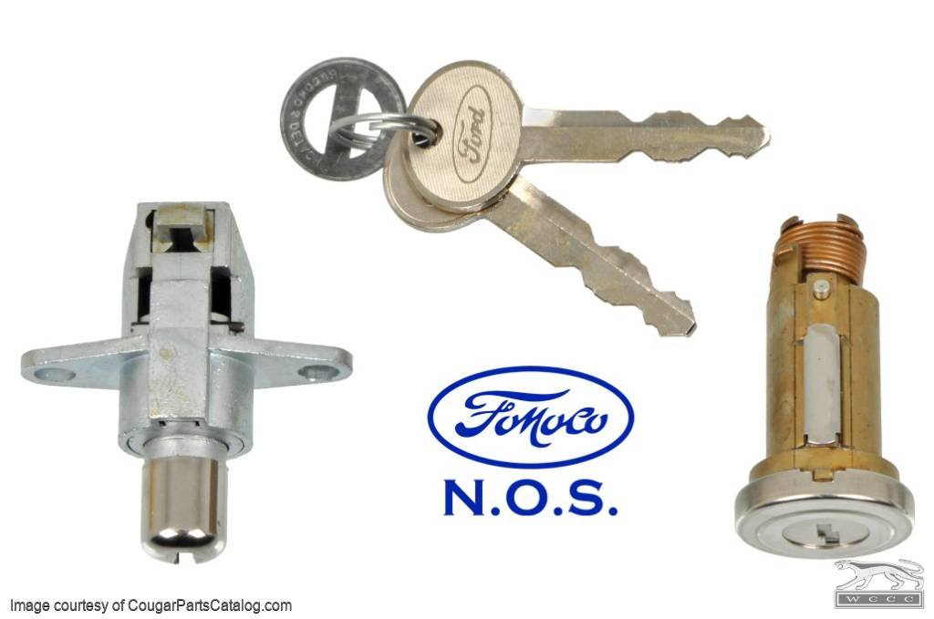 Lock Cylinder Kit - Rear Deck Lid w/ Glove Box Latch and Key - NOS ~ 1967 - 1968 Mercury Cougar - 31213