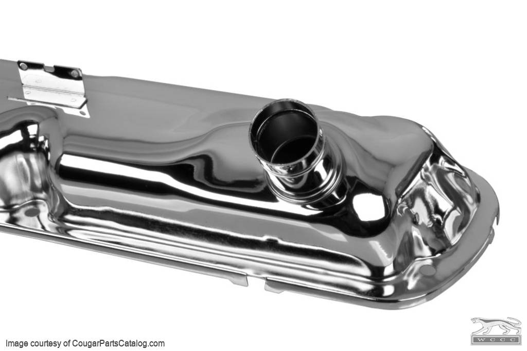 Valve Covers - Small Block - HIPO - Chrome ~ 1967 Mercury Cougar / 1964 - 1966 Ford Mustang - 31255