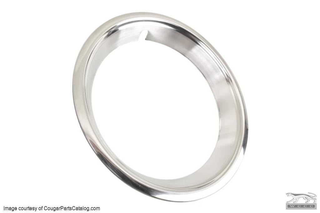 Wheel Trim Ring - Stainless - Brushed Finish - EACH - Repro ~ 1967 - 1970 Mercury Cougar / 1967 - 1970 Ford Mustang - 31586