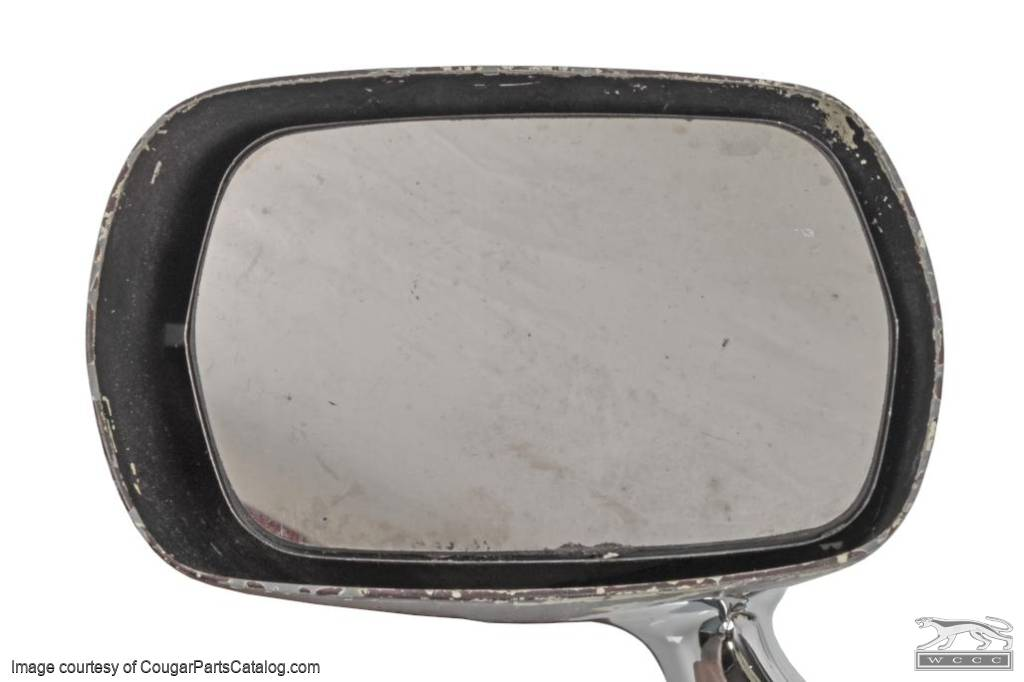 Side View Mirror - Sport - Driver Side - Remote - XR7 - Restored Chrome Base - Used ~ 1969 Mercury Cougar - 31610