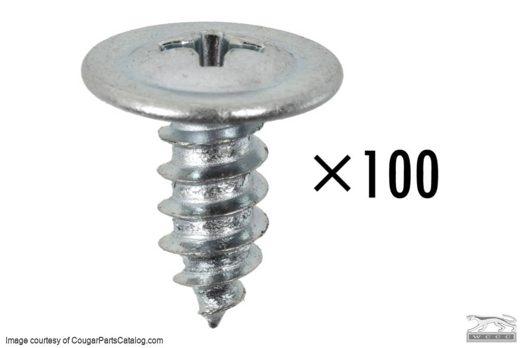 Screws - Moulding / Trim - Exterior - Pack of 100 - ECONOMY - Repro ~ 1967 - 1973 Mercury Cougar / 1967 - 1973 Ford Mustang - 41154
