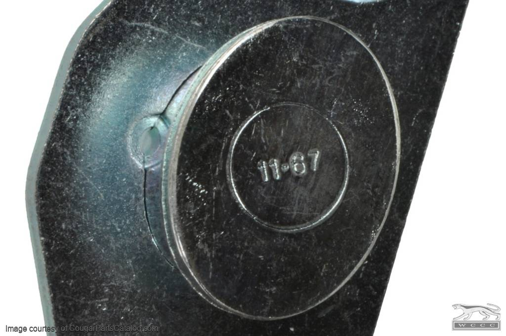 Door Striker Plate And Shim Date Stamped 11-67 - Repro ~ 1967 - 1970 Mercury Cougar - 1967 - 1970 Ford Mustang - 41786