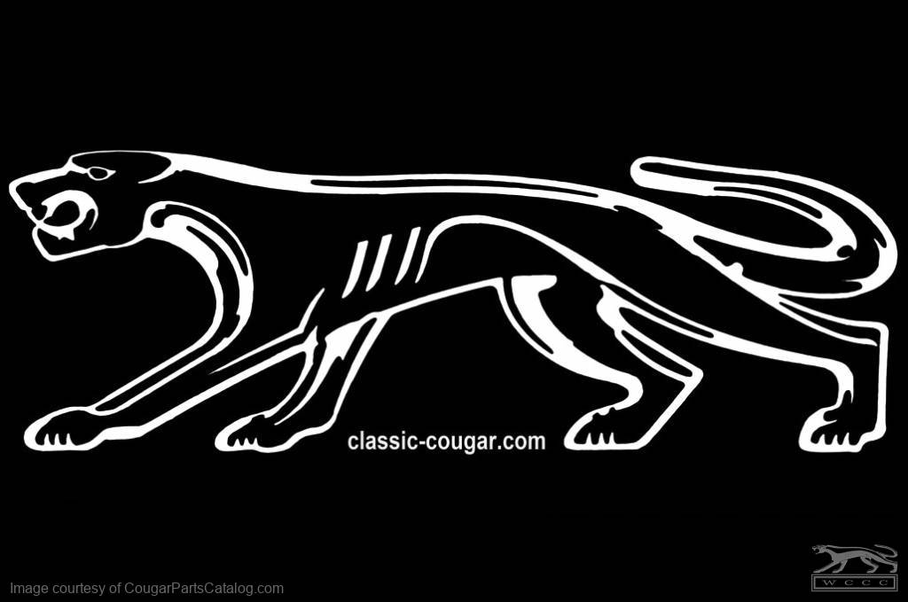 """Decal - Walking Cat - Tailgate Sized 43 X 16"""" - WHITE - New ~ 1967 - 1973 Mercury Cougar - 42168"""