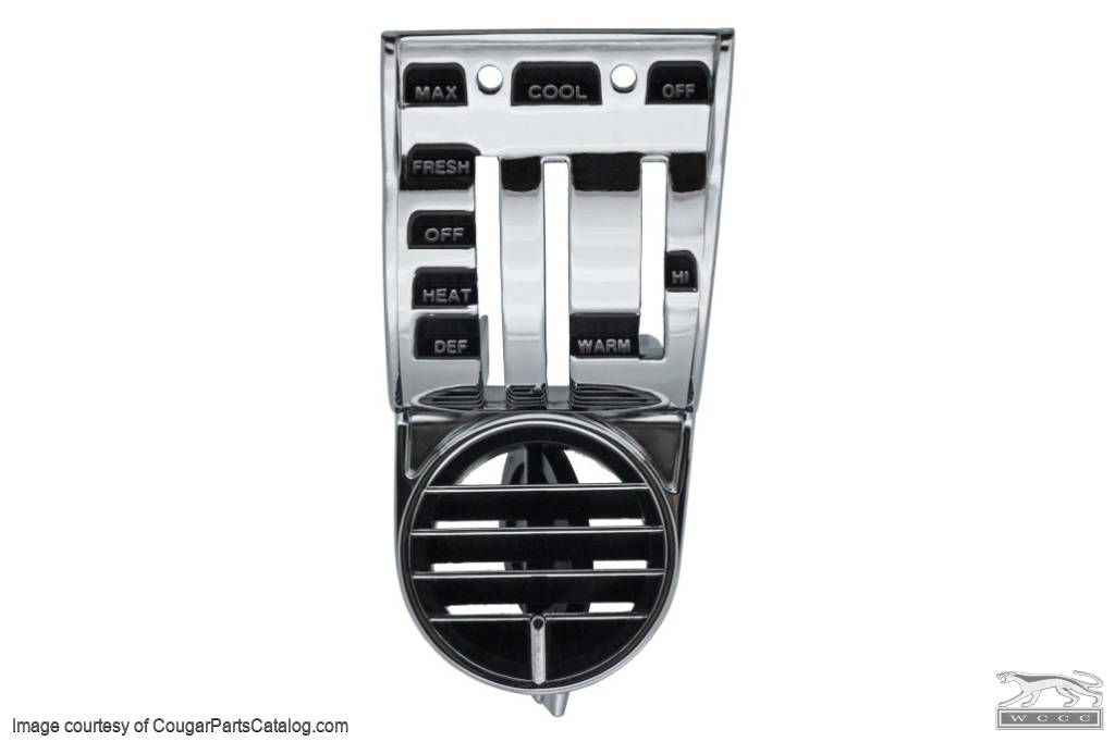 A/C Register - Driver Side - With Knobs - Repro ~ 1968 Mercury Cougar / 1968 Ford Mustang - 42499