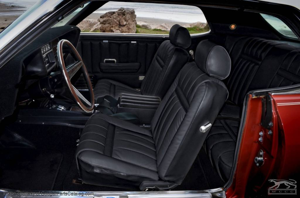 Leather interior upholstery xr7 black front set repro 1969 mercury cougar 1969 for 1969 mercury cougar interior parts