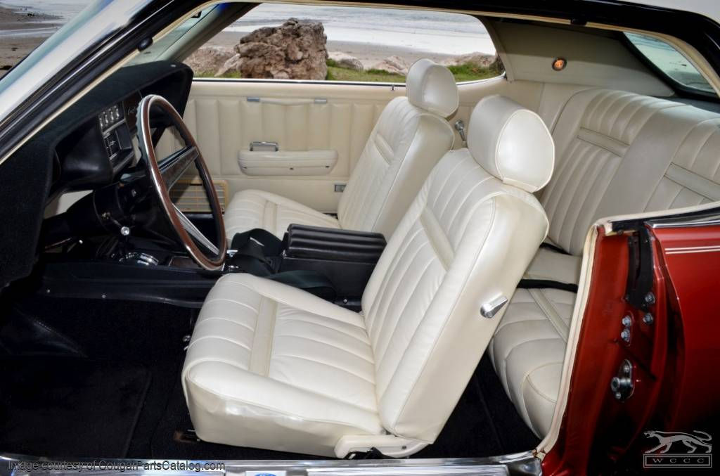 Leather interior upholstery xr7 white front set repro 1969 mercury cougar 1969 for 1969 mercury cougar interior parts